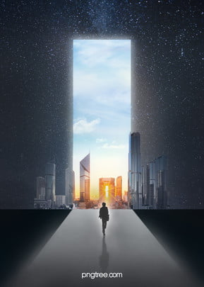 road to success , Starry Sky, Door, People Background image