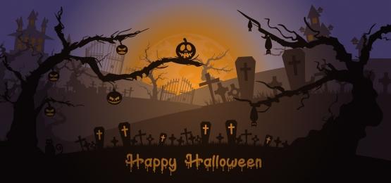 sân mộ sẹo với bí ngô và ánh trăng nền halloween hạnh phúc, Khủng Bố, Ác, Nền Ảnh nền