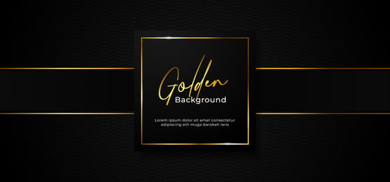 simple luxury professional paper box badge with sparkling golden square frame on wave pattern dark black background with gold ribbon decoration  vector illustration banner template design, Box, Square, Cover Background image