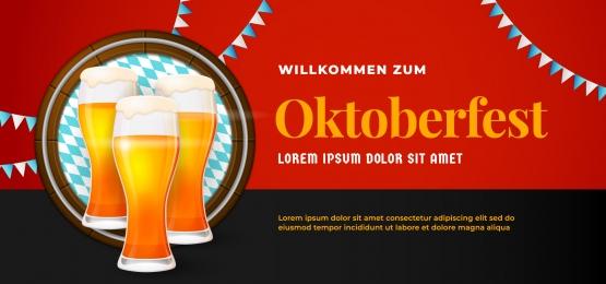 willkommen zum oktoberfest बैनर पोस्टर डिजाइन बियर ग्लास वेक्टर चित्र बैरल पृष्ठभूमि और बवेरिया ध्वज आभूषण के साथ जर्मन स्वागत है, Oktoberfest, अक्टूबर, महोत्सव पृष्ठभूमि छवि