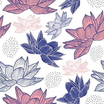 手描きスタイルロータスヴィンテージ装飾とシームレスなパターンを描く花 , フラワー, ロータス, 背景 背景画像