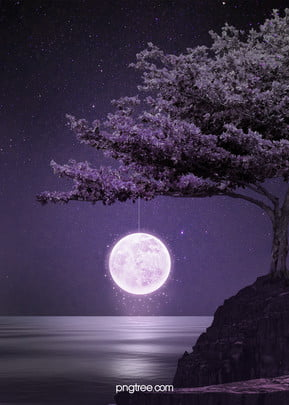 creative moon background, Starry Sky, Stars, Big Tree Background image