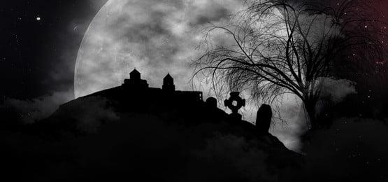 कब्रों और पूर्णिमा थीम के साथ भयानक भयानक संगोष्ठी, हेलोवीन, घर, बल्ले पृष्ठभूमि छवि