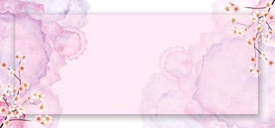 櫻花花水彩背景, 櫻花, 粉紅色, 粉紅花 背景圖片