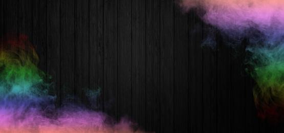 黒の木製の背景に現実的なカラフルな煙, 煙, 背景, 旗 背景画像
