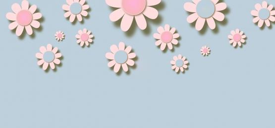 नीले रंग की पृष्ठभूमि पर 3 डी गुलाबी और नीले फूल, 3 डी, कागज, पुष्प पृष्ठभूमि छवि