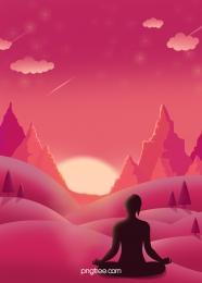 सौंदर्य योग प्रशिक्षक सूर्यास्त सूर्यास्त फिटनेस शाम सूर्यास्त सिल्हूट पृष्ठभूमि सामग्री , उल्का, किरणों, लोगों के सिल्हूट पृष्ठभूमि छवि