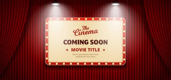 सिनेमा थिएटर बिलबोर्ड में जल्द ही फिल्म आ रही है लाल रंगमंच के मंच पर, आ रहा है, जल्द ही, फिल्म पृष्ठभूमि छवि
