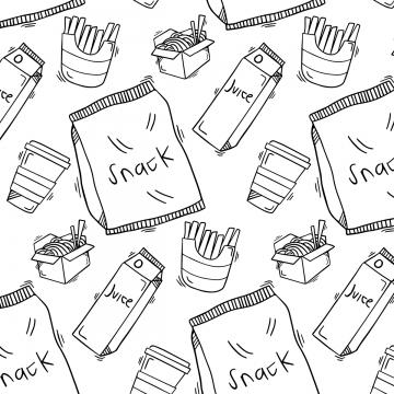 可愛的食物塗鴉圖案手繪 , 快速的, 食物, 菜單 背景圖片