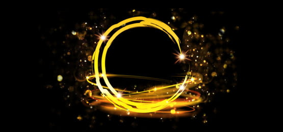 bulatan emas bulatan berkilauan, Abstrak, Banner, Banner imej latar belakang