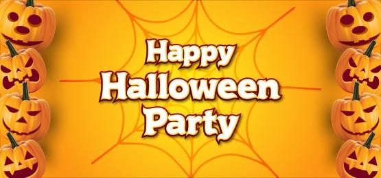 स्पाइडर वेब बैनर पृष्ठभूमि के साथ खुश हेलोवीन पार्टी, हेलोवीन, कद्दू, रात पृष्ठभूमि छवि