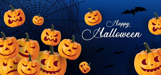 happy halloween pumpkin and spider banner background, Halloween, Pumpkin, Night Background image