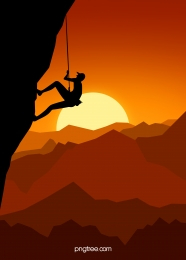 orange flat sunset outdoor rock climbing sport silhouette background , Oren, Rata, Matahari Terbenam imej latar belakang
