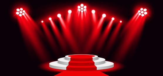 रेड कार्पेट वेक्टर चित्रण के साथ लाल रंग की स्टेज लाइटिंग बैकग्राउंड स्पॉटलाइट, सार, कला, पृष्ठभूमि पृष्ठभूमि छवि