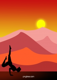 silhouette red sunset sport background , Yoga Silhouette, Mountain Top Outdoor, Sunset Background image