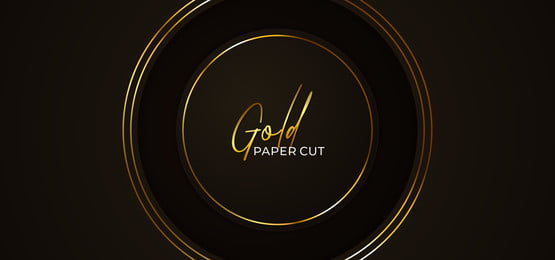 simple circle luxury paper cut abstract background template with glowing golden frame line ornament vector illustration, Circle, Round, Ring Background image