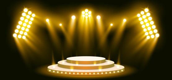 sân khấu 3d ánh sáng nền màu vàng với ánh đèn sân khấu, Ba Chiều, Abstract, Quảng Cáo Ảnh nền