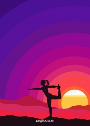 sunset silhouette of yoga people , Background, Figure Silhouette, Setting Sun Background image