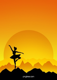 yellow flat sunset ballet dance silhouette background , Silhouette, Motion, Sunset Background image