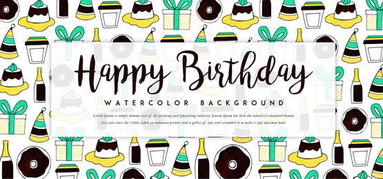 생일 케이크 배경, 수채화, 컬러, 페인트 배경 이미지