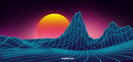 color tech lines hills digital background, Technology, Digital Background, Blue Technology Background image