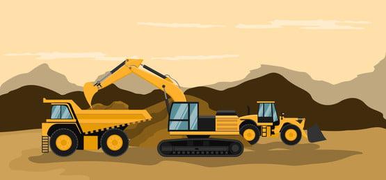 खनन ट्रकों और बैकहेट्स कैटरपिलर का प्रदर्शन निर्माण और खनन कार्य, मशीन, भारी, खुदाई पृष्ठभूमि छवि