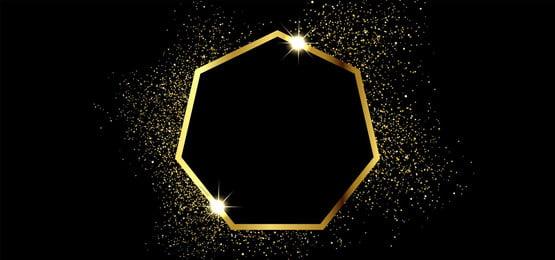 golden sparkling frame in square shape on black background, Design, Gold, Golden Background image