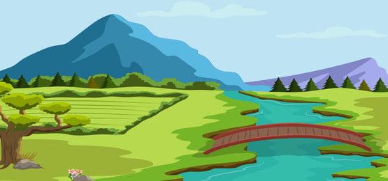 पहाड़ों के साथ नदी के किनारे पर प्राकृतिक परिदृश्य पृष्ठभूमि, फ्लोरा, डिजाइन, कार्टून पृष्ठभूमि छवि