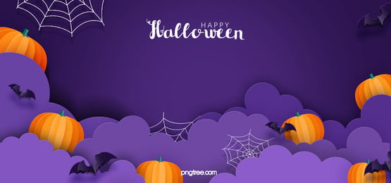 purple halloween party carnival night banner background, Purple Background, Bat, Hand Drawn Pumpkin Background image