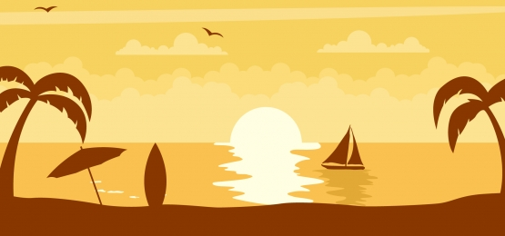 sunset beach background with umbrella and surfboard, Sunset, Beach, Tropical Background image