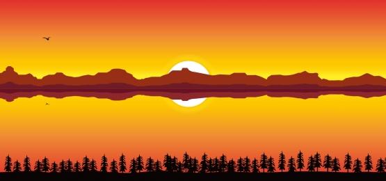 sunset landscape background on a river bank, Peak, Hill, Wild Background image