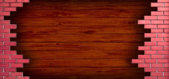 деревянный с кирпичной стеной, деревянные, кирпичи, стена Фоновый рисунок