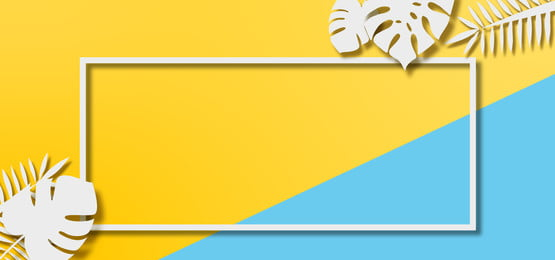 yellow and blue pastel background with leaves cutouts and frame, Background, Cover, Banner Background image