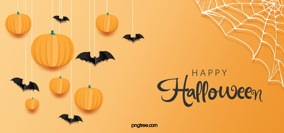 yellow simple halloween banner background, Pumpkin Lantern, Yellow Pumpkin, Black Bat Background image
