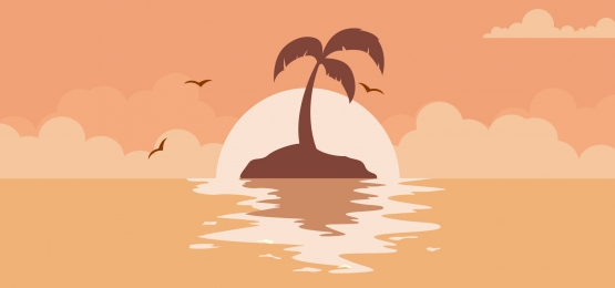 background of a sunset landscape of a palm tree in the sea, Sunset, Beach, Tropical Background image