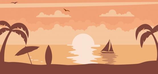 सेलबोट और ताड़ के पेड़ों के साथ समुद्र तट पर सूर्यास्त परिदृश्य की पृष्ठभूमि, सूर्य का अस्त होना, समुद्र तट, उष्णकटिबंधीय पृष्ठभूमि छवि