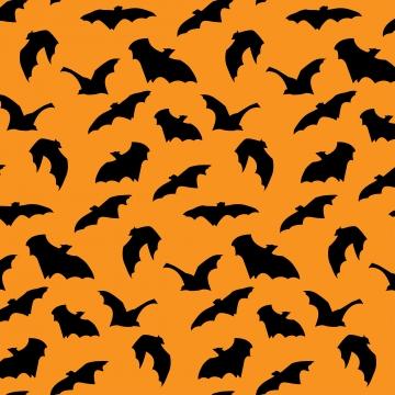 नारंगी पृष्ठभूमि पर बैटिंग सिल्हूट हैलोवीन सीमलेस पैटर्न , शरद ऋतु, पृष्ठभूमि, डरावना पृष्ठभूमि छवि