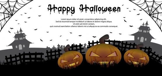 halloween bí ngô minh họa nền trên nghĩa địa với ngôi nhà ma ám trên nền, Vào Tháng 10., Hình Minh Họa, Nền Ảnh nền
