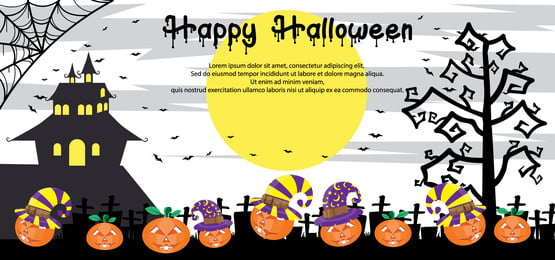 खुश हेलोवीन बैनर अजीब कद्दू चरित्र, अक्टूबर, चित्रण, पृष्ठभूमि पृष्ठभूमि छवि