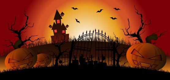 haunted house on graveyard halloween illustration, October, Illustration, Background Background image