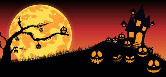 ngôi nhà ma ám với nền trăng sáng nền halloween vui vẻ với jack o đèn lồng bí ngô, Vào Tháng 10., Hình Minh Họa, Nền Ảnh nền