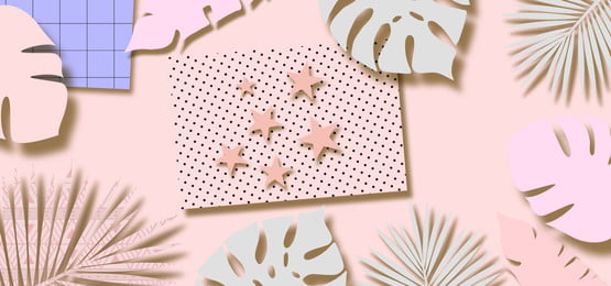 paper leaves and stars cutouts on pink pastel background, Paper, Floral, Cutouts Background image