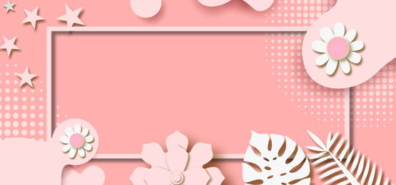 pastel paper pink background with flowers and leaves cutout, Background, Pastel, Pink Background image