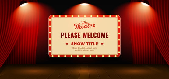 xin vui lòng chào đón retro bảng hiệu cổ điển thiết kế nền mở đỏ sân khấu sân khấu backdrop với cơ sở sàn gỗ và đèn chiếu sáng đầy đủ đèn led minh họa mẫu banner biểu ngữ, Làm ơn, Chào Mừng, Vĩ đại. Ảnh nền