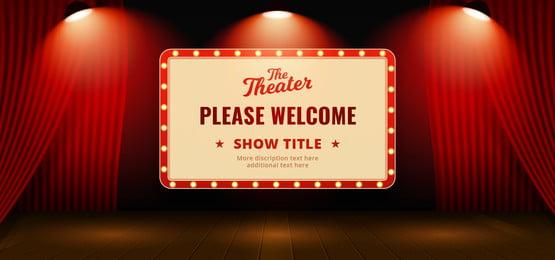 sila selamatkan reka bentuk latar belakang klasik retro papan tanda terbuka latar belakang tirai tirai teater dengan asas lantai kayu dan lampu sorotan penuh ilustrasi vektor ilustrasi poster banner template, Sila, Selamat Datang, Grand imej latar belakang