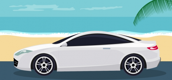 background of luxurious white sports car on the beach, Summer, Sale, Background Background image
