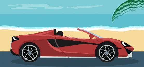 nền tảng của chiếc xe mui trần hiện đại sang trọng trên bãi biển, Chỗ Trống, Xe ô Tô., Không Chuyển đổi Ảnh nền