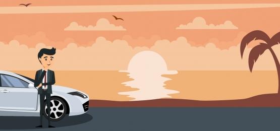 ビーチで夕日に彼の車の中で青年実業家の背景, セールスマン, 人, ディーラー 背景画像