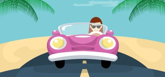 người phụ nữ thiết kế nền tảng lái xe của mình trên bãi biển, Mùa Hè., Bán Hàng., Nền Ảnh nền