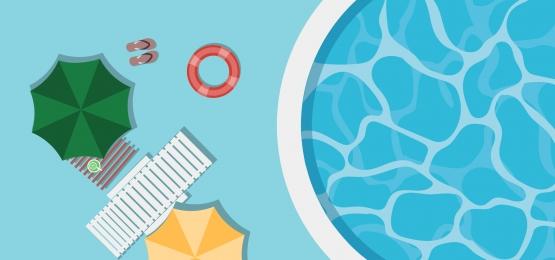 透明な青みがかった水傘とライフガードとプールトップビューの背景, ビーチ, プール, ベクター 背景画像